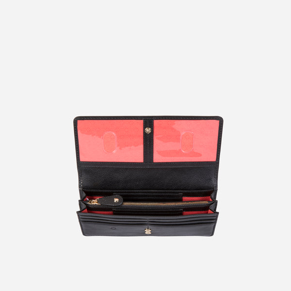 Large Ladies Multi-Compartment Leather Purse, Black - Jekyll and Hide SA