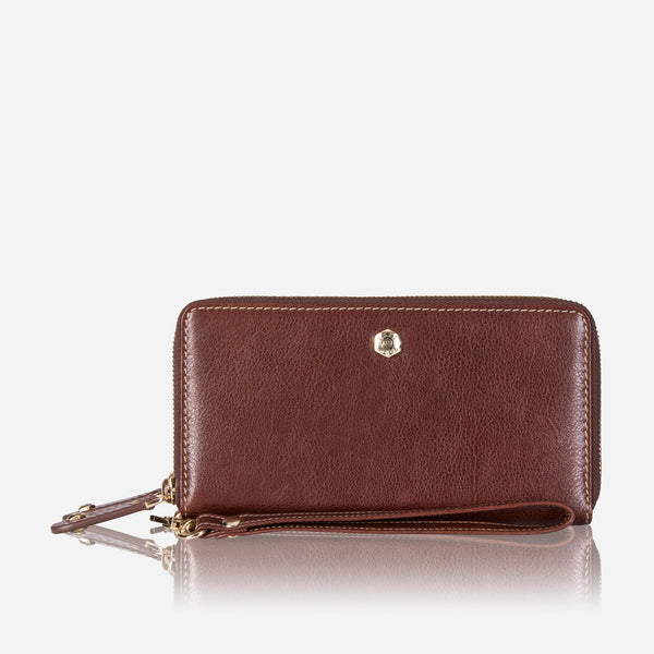 Double Zip Wristlet Purse, Burgundy - Jekyll and Hide SA