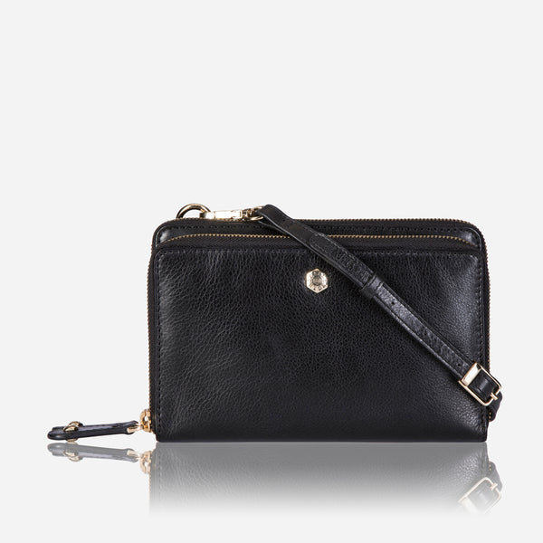 Ladies Purse with Detachable Strap, Black - Jekyll and Hide SA
