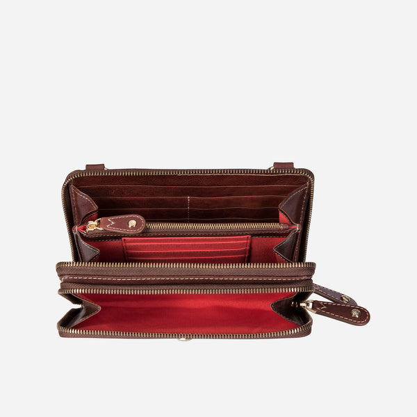 Ladies Purse with Detachable Strap, Burgundy - Jekyll and Hide SA