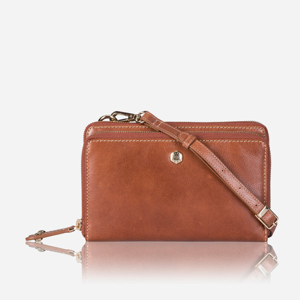 Ladies Large Leather Purse With Detachable Strap, Tan - Jekyll and Hide SA