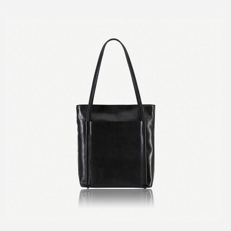 Upright Leather Shopping Tote, Matt Black - Jekyll and Hide SA