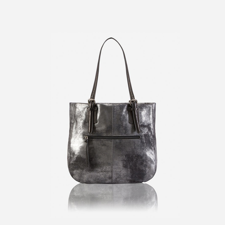 Ladies Leather Shopping Tote, Metallic Black - Jekyll and Hide SA