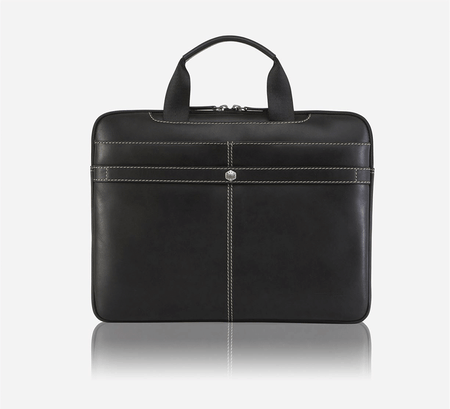 "13"" Slim Laptop Briefcase, Black - Jekyll and Hide SA"