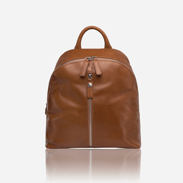Casual Ladies Zip-Top Backpack 35cm, Tan - Jekyll and Hide SA