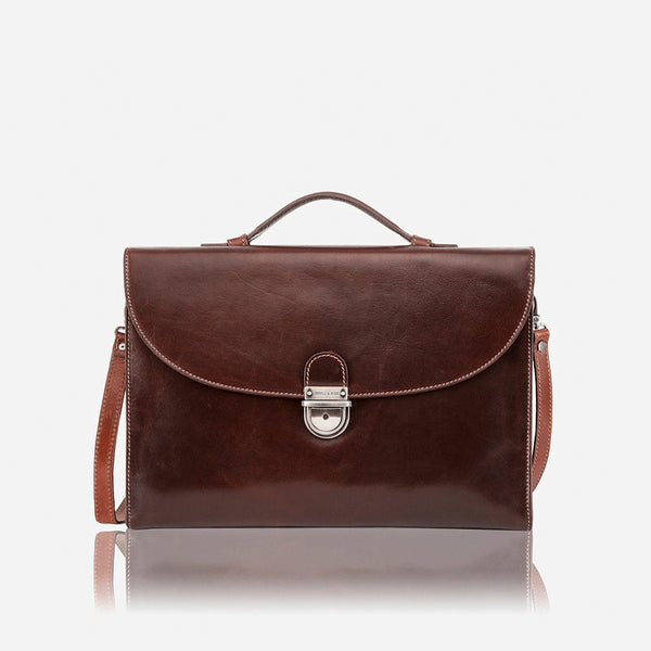 Extra Slim Business Briefcase, Tobacco - Jekyll and Hide SA