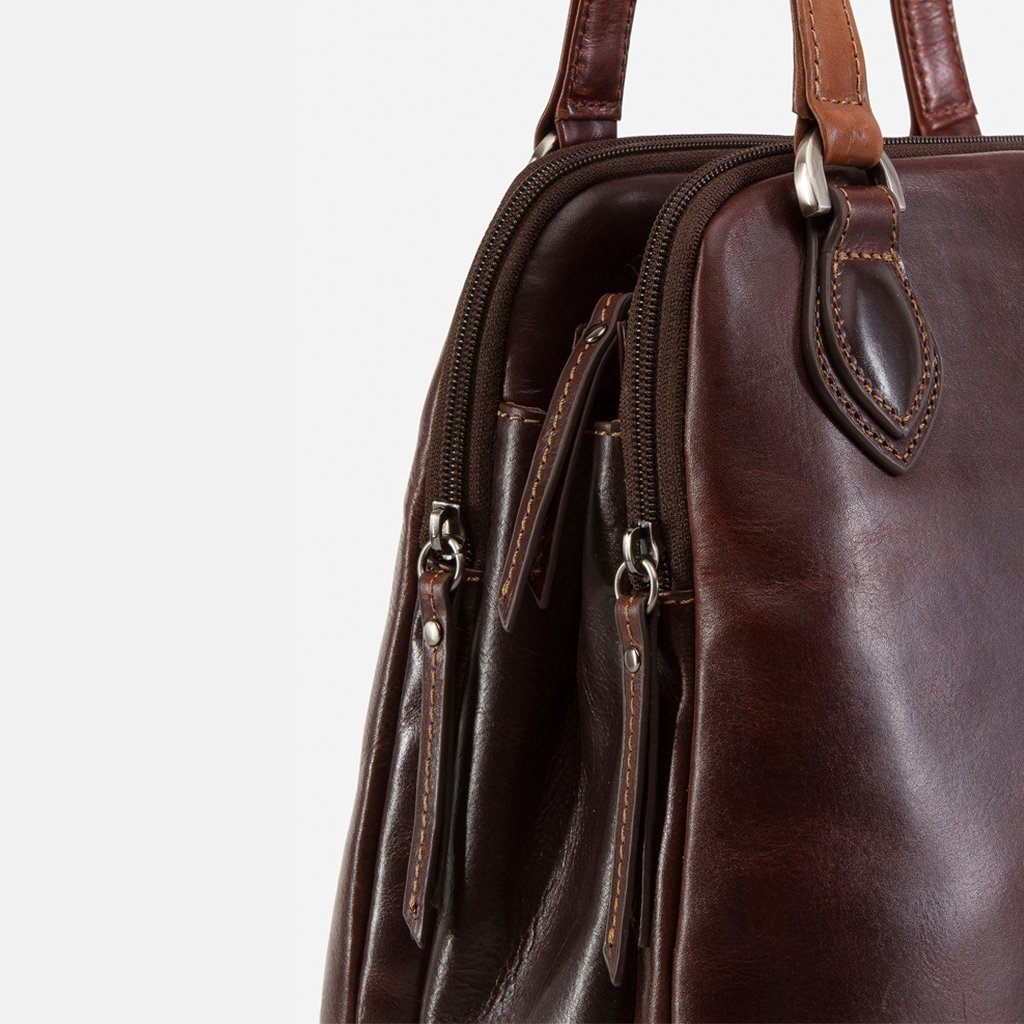 Compact Ladies Handbag, Tobacco - Jekyll and Hide SA