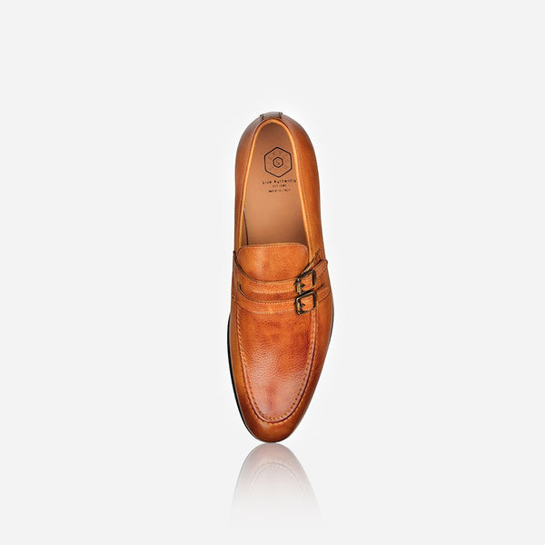 Men's Leather Monk Shoe, Tan - Jekyll and Hide SA