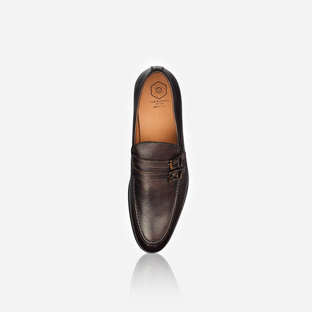 Men's Leather Monk Shoe, Brown
