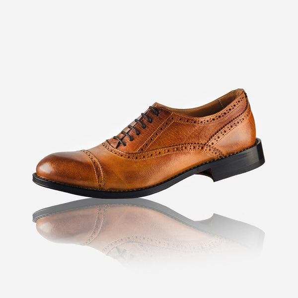 Men's Leather Brogue, Tan - Jekyll and Hide SA