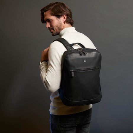 Large Laptop Backpack 38cm, Matte Black - Jekyll and Hide SA