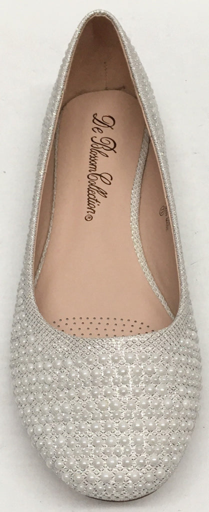 ... Womenu0027s De Blossom Collection Baba36 WEDDING PAGEANT White Nude Black  Pearl Dressy Flats Shoes ...