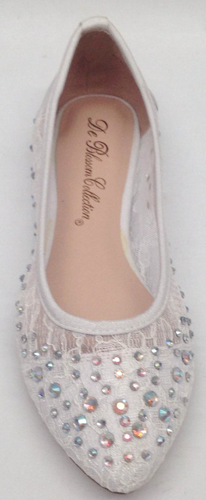 Womens De Blossom Collection Luna10 WEDDING PAGEANT Rhinestone Lace Dressy Flats Shoes