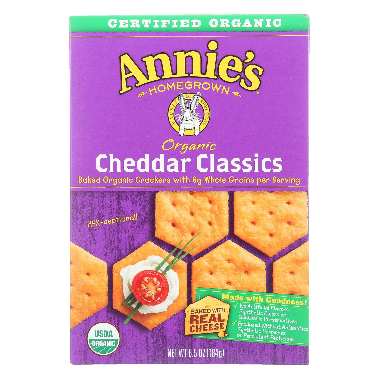 Annie's Homegrown Organic Cheddar Classics Crackers