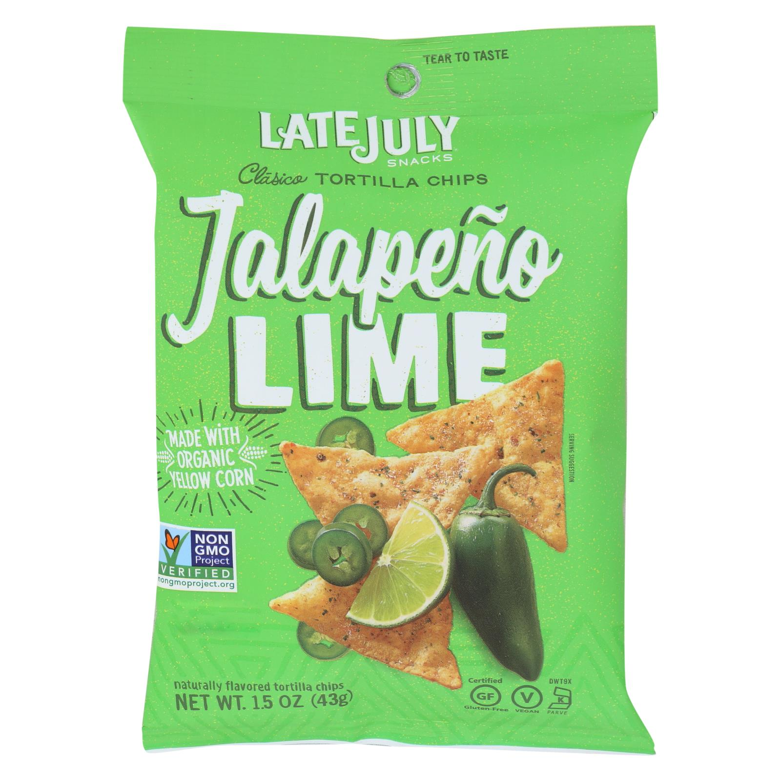 Late July Jalapeno Lime Tortilla Chips - Snack Pack