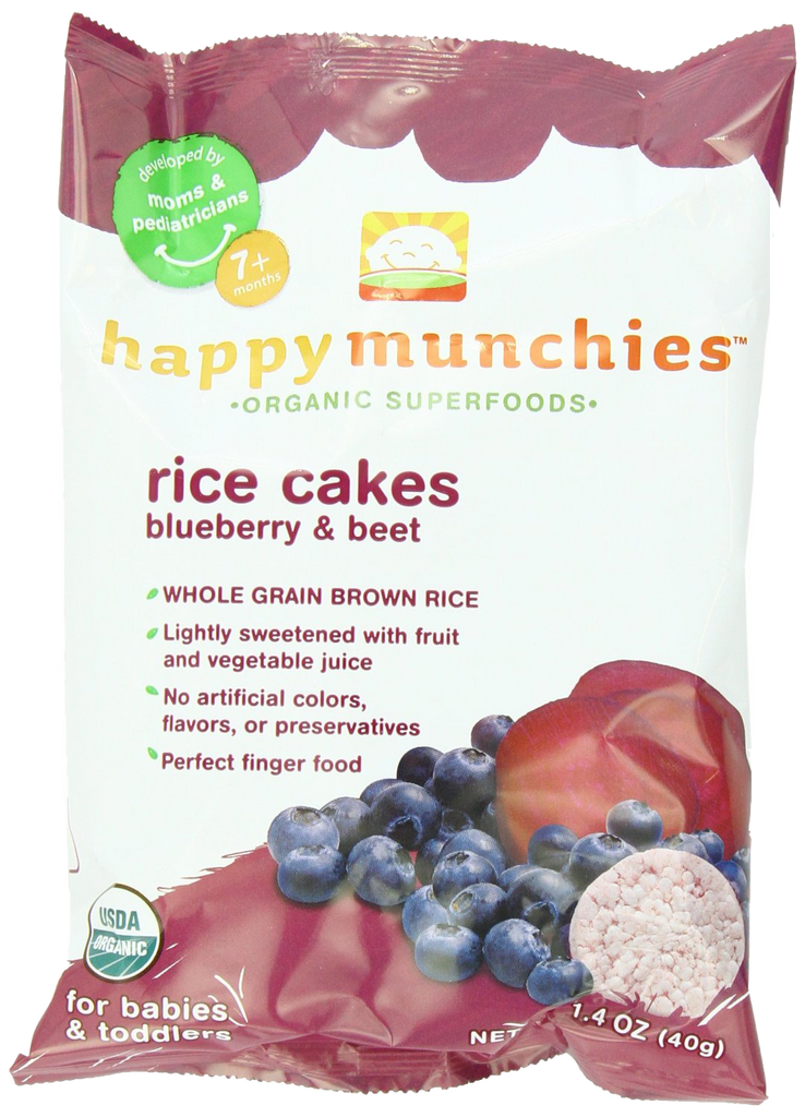 Happy Baby Happy Munchies Rice Cakes - Organic Blueberry and Beet