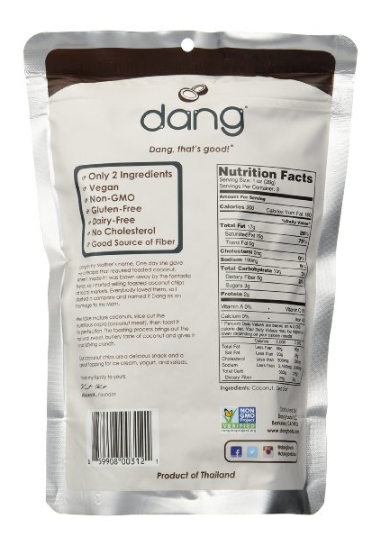 Dang Toasted Coconut Chips Lightly Salted and Unsweetened - Family Pack