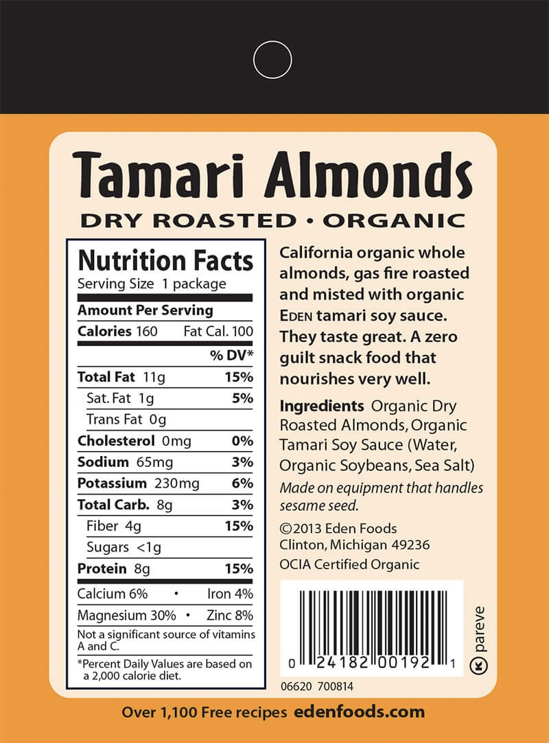 Eden Foods Tamari Almonds - Snack Pack