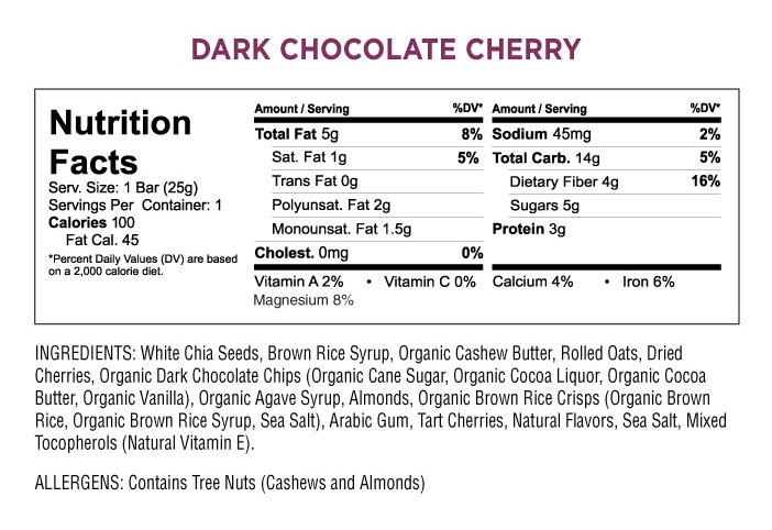 Health Warrior Chia Bar - Dark Chocolate Cherry