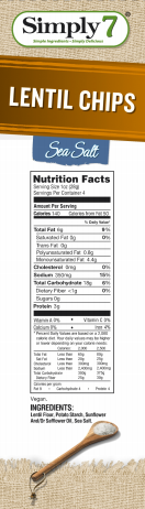 Simply 7 Lentil Chips Sea Salt Snack Pack
