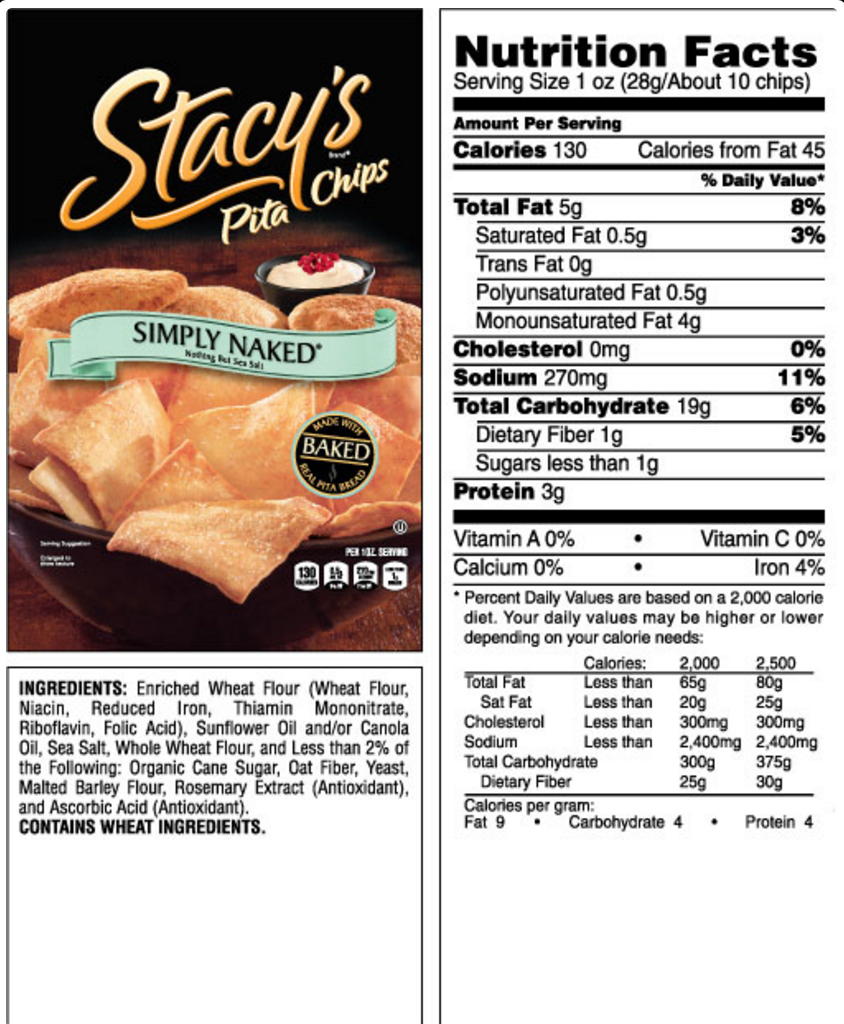 Stacy's Simply Naked Pita Chips Snack Pack: 72 bags
