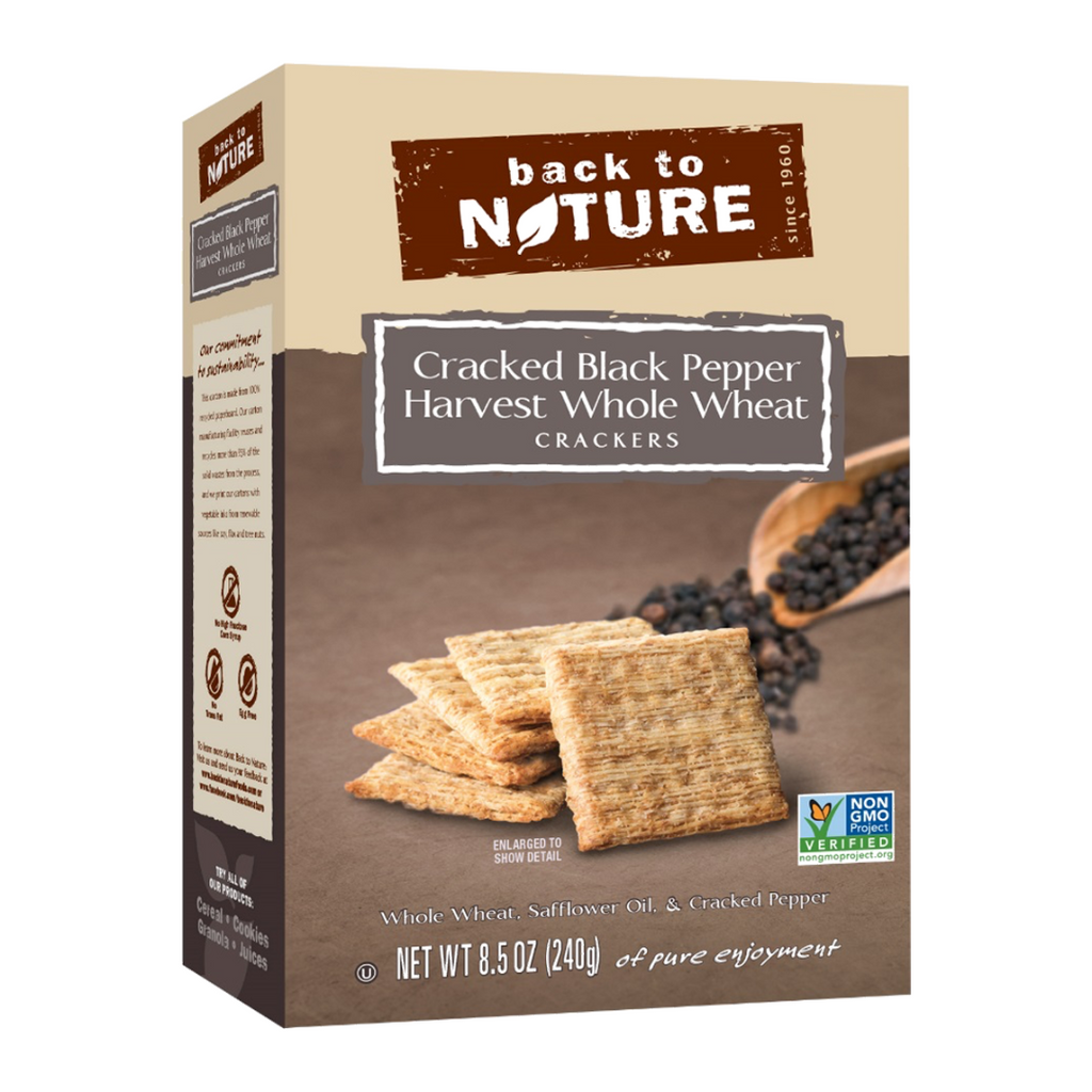 Back To Nature Cracked Black Pepper Harvest Whole Wheat Crackers