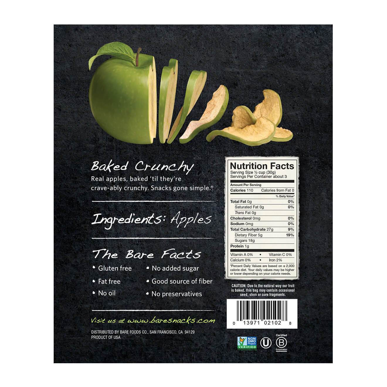 Bare Fruit All Natural Crunchy Apple Chips Granny Smith - 6 count