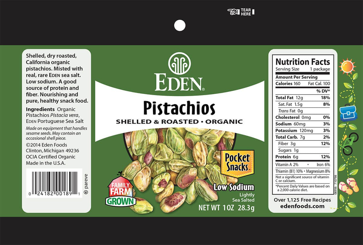 Eden Foods Shelled and Roasted Pistachios - Snack Pack