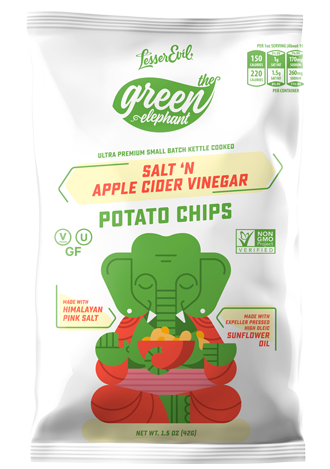 Lesser Evil Green Elephant Salt & Apple Cider Vinegar Potato Chips Snack Pack