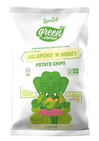 Lesser Evil Green Elephant Jalapeno 'N Honey Potato Chips