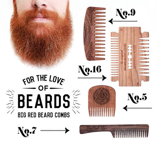 Big Red Wooden Beard Combs