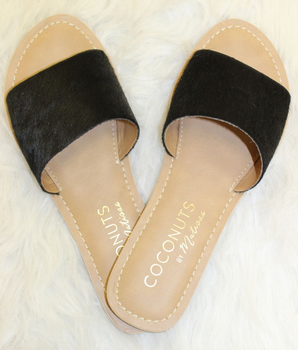 Black Matisse Cow Hair Sandals