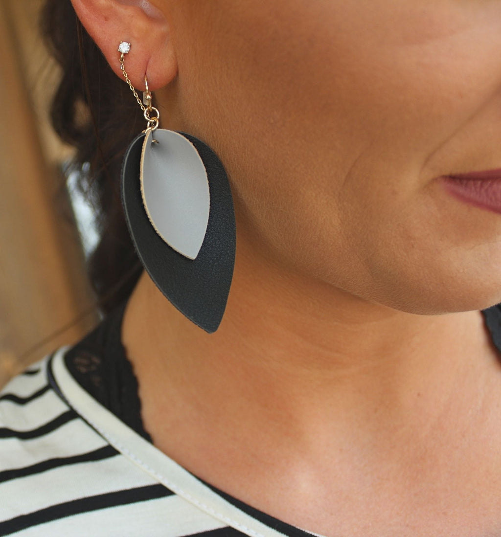 Black and Gray Leather Earrings