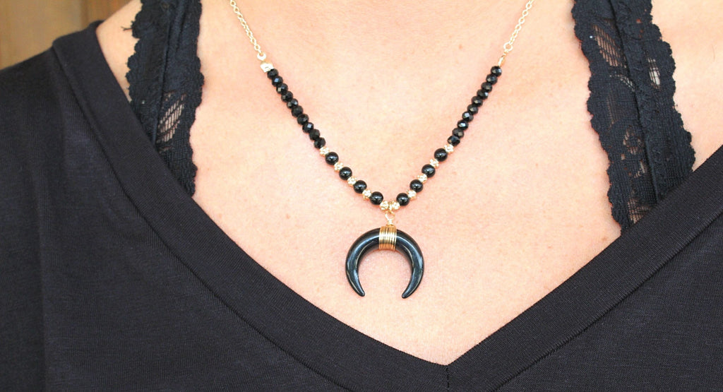 Black and Gold Horn Necklace