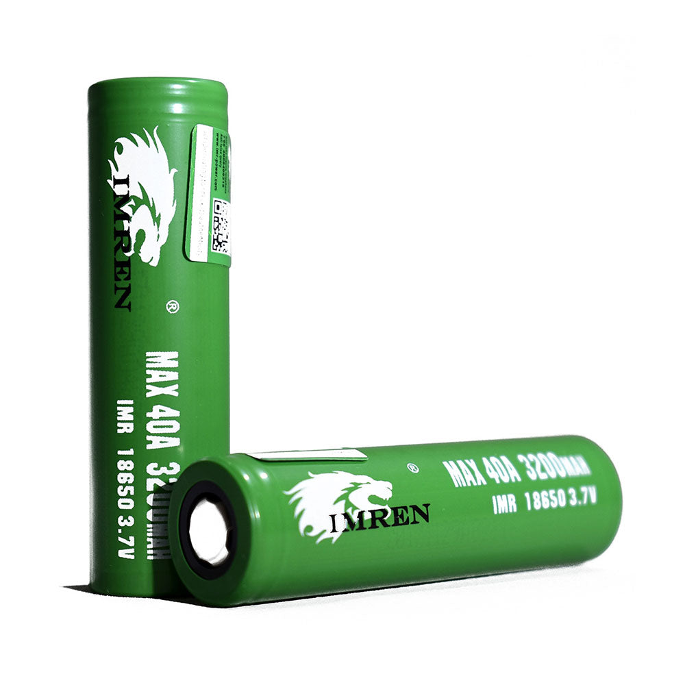 IMREN Green IMR 18650 3200mAh 40A 3.7V Battery (2-Pack)