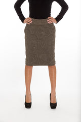 Olive Brocade Pencil Skirt by NA Martin