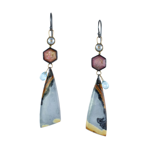 Pearl, Ruby, & Maligano Jasper Drop Earrings