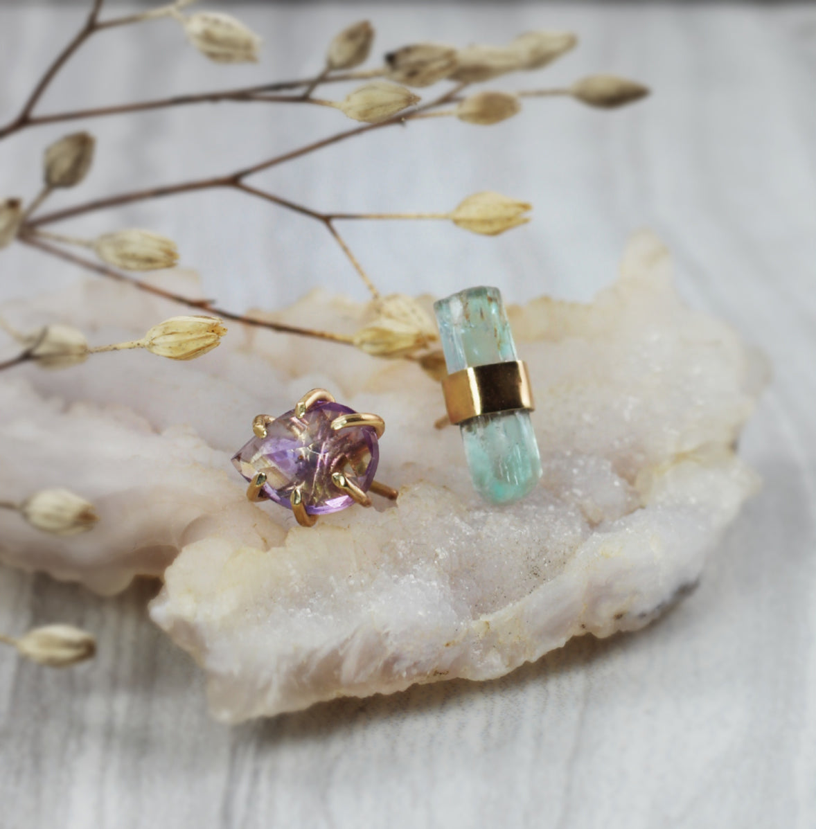 Ametrine & Aquamarine Mismatched Stud Earrings