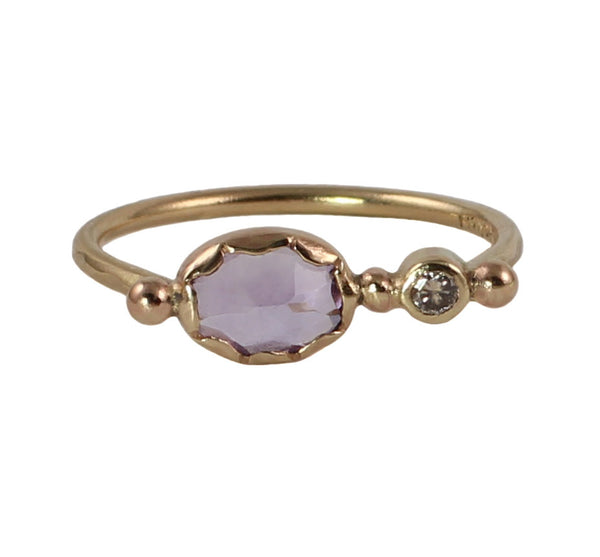 Amethyst & Champagne Diamond Muse Ring