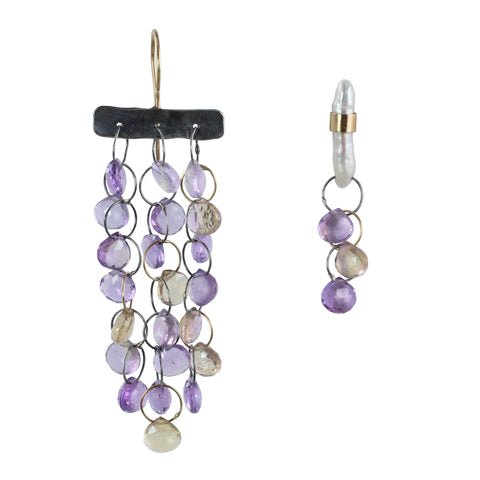 Fossil coral and brass hexagon earrings ametrine