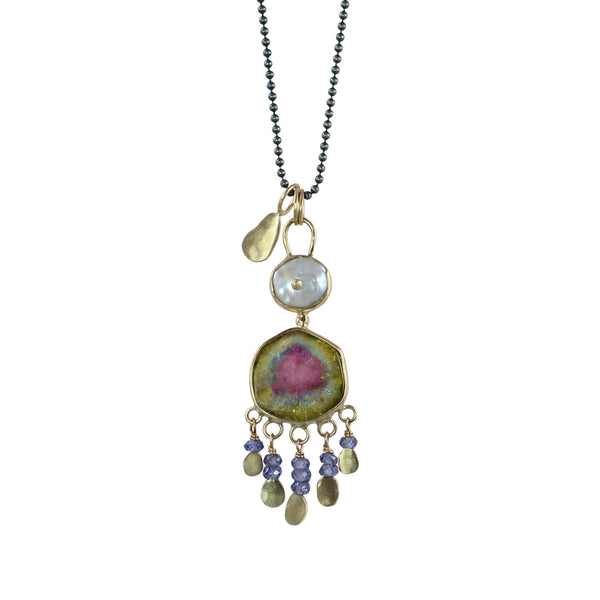Pearl & Tourmaline Slice Cha-Cha Necklace