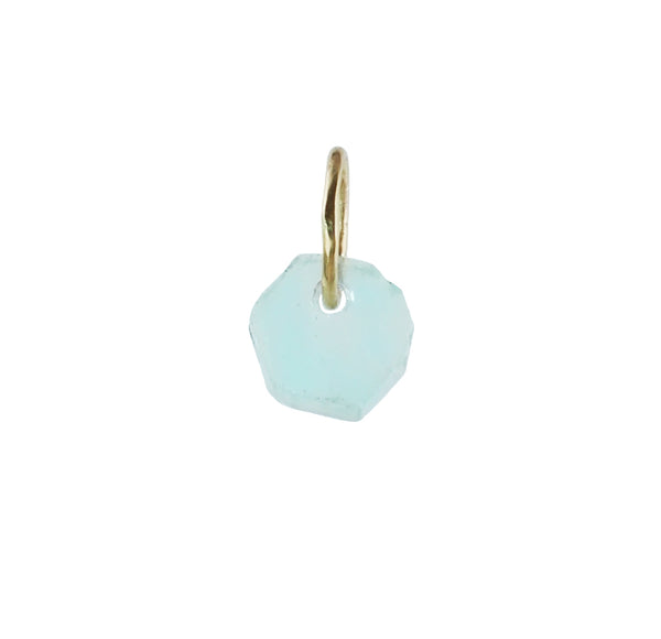 Tiny Aquamarine Crystal Slice Charm