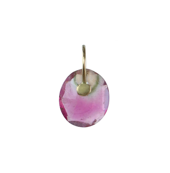 Rose Cut Watermelon Tourmaline Charm