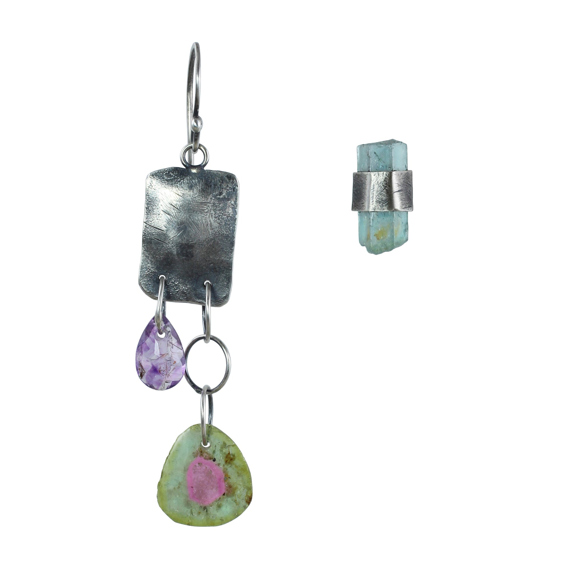 Tourmaline & Aquamarine Crystal Earrings