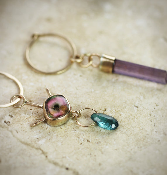 Tourmaline Evil Eye & Scapolite Tiny Hoops