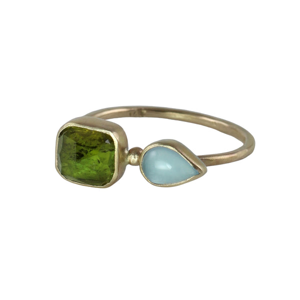 Green Tourmaline & Aquamarine Ring