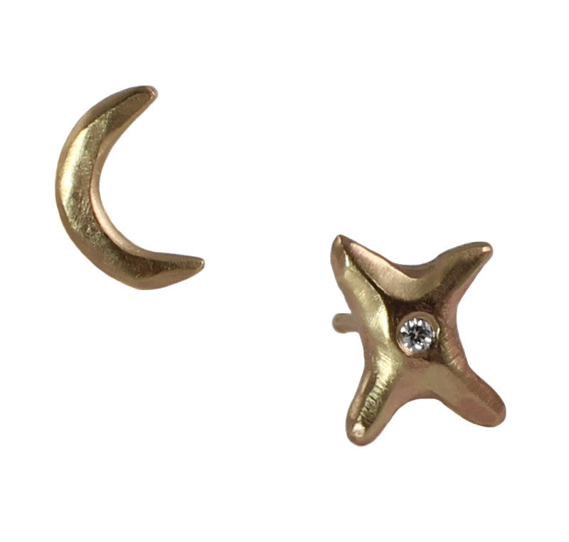 Moon & Star Diamond Studs