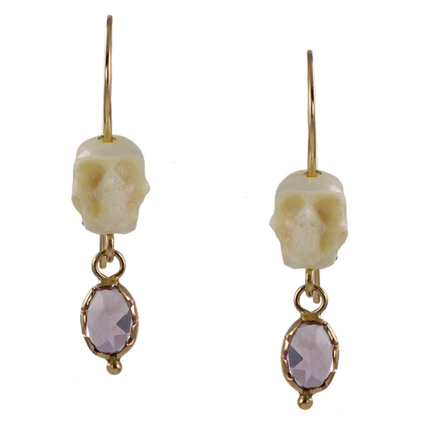 Pearl & Amethyst Memento Mori Earrings