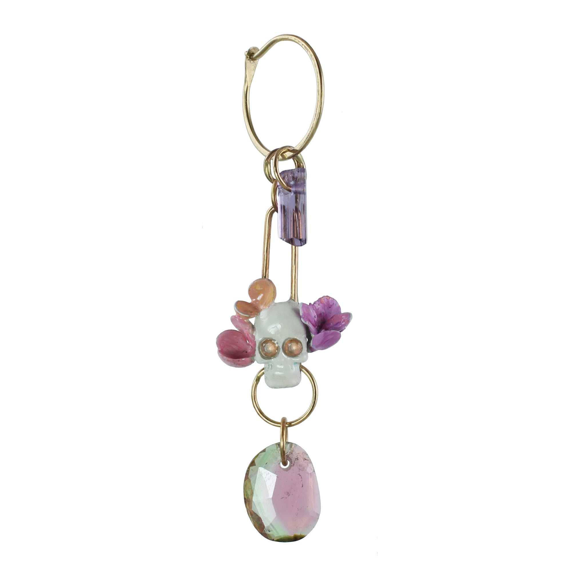 La Calavera Catrina Single Earring with Watermelon Tourmaline