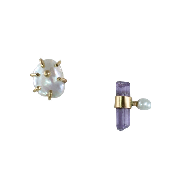 Pearl & Scapolite Crystal Mismatched Studs